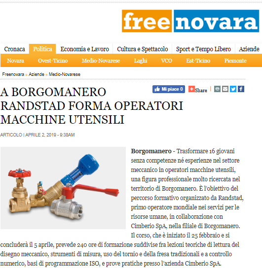 In Borgomanero, Cimberio and Randstad educate operators for specialized utensils machines.